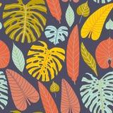 Naadloos patroon van tropische bladeren in vlakke stijl vector illustratie