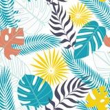 Naadloos patroon van tropische bladeren in vlakte royalty-vrije illustratie