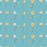 Naadloos patroon van verschillende bloemen op een blauw Stock Foto