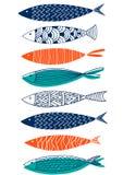 Naadloos patroon van vissen in de stijl van krabbel Stock Fotografie