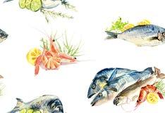 Naadloos patroon van vissen en zeevruchten Waterverfhand getrokken illustratie royalty-vrije illustratie