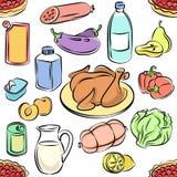 Naadloos patroon van voedsel Krabbelsvoedsel uit de vrije hand Schetsmatige vector Stock Fotografie