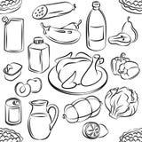 Naadloos patroon van voedsel Krabbelsvoedsel uit de vrije hand Schetsmatige vector Royalty-vrije Stock Foto