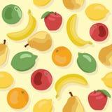 Naadloos patroon van vruchten op gele achtergrond Royalty-vrije Stock Foto