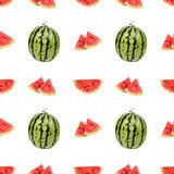 Naadloos patroon van watermeloen en watermeloenplakken Stock Fotografie