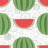 Naadloos patroon van watermeloenen Stock Afbeelding