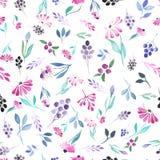 Naadloos patroon van waterverf blauwe bladeren, purpere bloemen en bessen stock illustratie