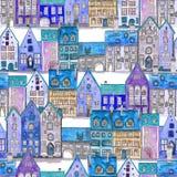 Naadloos patroon van waterverf middeleeuwse huizen in de nacht stock afbeeldingen