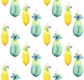 Naadloos patroon van waterverf succulente baby Getrokken hand stock illustratie