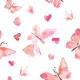 Naadloos patroon van waterverfillustratie van roze vlinders met harten Stock Foto