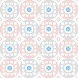 Naadloos patroon van witte bloemen in roze en grijze cirkels Stock Afbeelding