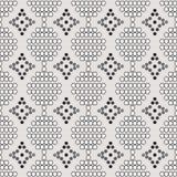 Naadloos patroon van witte cirkels met de contour en de grijze diamanten Stock Afbeeldingen