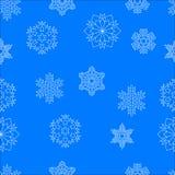 Naadloos patroon van witte sneeuwvlokken Stock Afbeeldingen