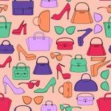 Naadloos patroon van zakken en schoenen stock illustratie