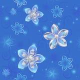 Naadloos patroon van zilveren bloemen Stock Fotografie