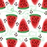 Naadloos patroon van zoet sappig de waterverfverstand van de stukkenwatermeloen Stock Foto's