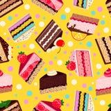 Naadloos patroon van zoete gebakken vector geplaatste cakes Stock Afbeeldingen