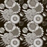 Naadloos patroon van zwart-witte bloemen Stock Afbeelding