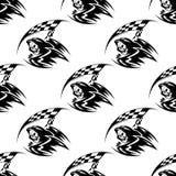 Naadloos patroon van zwarte dood met zeis stock illustratie
