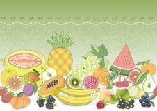naadloos patroon vastgesteld fruit met realistische schaduw Vector illustratie Royalty-vrije Stock Afbeeldingen