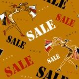 Naadloos patroon Verkoop Het winkelen op plaats Meisjes bij het winkelen Vrolijke druk gewijd aan verkoop en kortingen in opslag  stock illustratie