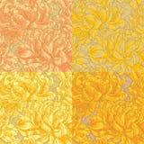 Naadloos patroon vier met chrysant Stock Afbeelding