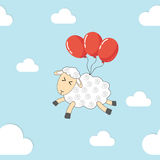 Naadloos patroon - vliegende schapen Stock Afbeelding