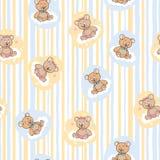 Naadloos patroon voor babyachtergrond met beren Stock Afbeelding