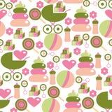 Naadloos Patroon voor Babymeisje Jonge geitjespersoneel in Roze en Groen Stock Fotografie