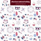 Naadloos patroon voor de nationale feestdag van de V.S. Stock Afbeeldingen