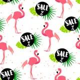 Naadloos patroon voor de zomerverkoop met leuke flamingo, palmbladen en teksten op witte achtergrond Ornament voor textiel en het vector illustratie
