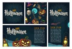 Naadloos patroon voor Halloween-partij Uitstekende kleurengravure vector illustratie