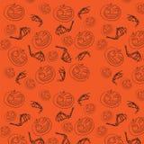 Naadloos patroon voor Halloween Pompoen en beenderen royalty-vrije stock foto's