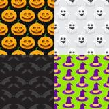naadloos patroon voor Halloween, pompoen, spook, heksenhoed Royalty-vrije Stock Afbeeldingen