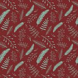 Naadloos patroon voor het Nieuwjaar De vectorinstallaties van beeldkerstmis, takken, Kerstmistakjes op een rode achtergrond stock fotografie
