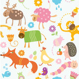 Naadloos patroon voor jonge geitjes - dieren Royalty-vrije Stock Foto