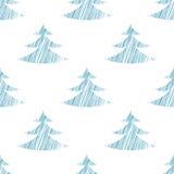 Naadloos patroon voor Kerstmis en Nieuwjaar Schetssparren Modern ontwerp Stock Fotografie