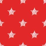 Naadloos patroon voor Kerstmis en Nieuwjaar Schetssterren op een rode achtergrond Modern ontwerp Royalty-vrije Stock Afbeelding