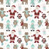 Naadloos patroon voor Kerstmis en Nieuwjaar Vector hand-drawn illustratie van Kerstman, uilen op skis, een beer op vleten, een ha royalty-vrije stock afbeelding
