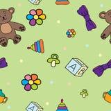 Naadloos patroon voor kinderen met speelgoed Stock Foto's