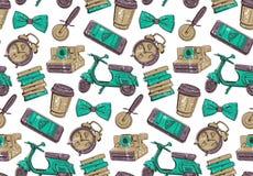 Naadloos patroon voor koffiewinkel of pizzeria Royalty-vrije Stock Afbeeldingen