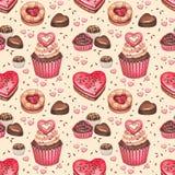 Naadloos patroon voor valentijnskaartendag Stock Foto