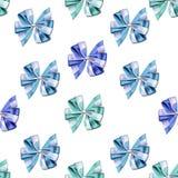 Naadloos patroon - weinig leuke bogen en linten in levendige en heldere kleuren op een Witte achtergrond Stock Foto's