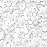 Naadloos patroon - witte bloemen met 3d effect Stock Afbeeldingen