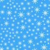 Naadloos patroon Witte sneeuwvlokken op blauwe achtergronden Voor de verpakking van document royalty-vrije illustratie