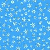 Naadloos patroon Witte sneeuwvlokken op blauwe achtergronden Voor de verpakking van document stock illustratie