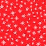 Naadloos patroon Witte sneeuwvlokken op rode achtergronden Voor de verpakking van document royalty-vrije illustratie