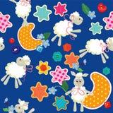 Naadloos patroon - zoete dromen - schapenspeelgoed, sterren Stock Afbeelding