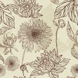 Naadloos patroonbloem en blad in retro stijl Stock Afbeeldingen