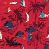 In naadloos patrooneiland met kleurrijke boot en windbranding royalty-vrije illustratie